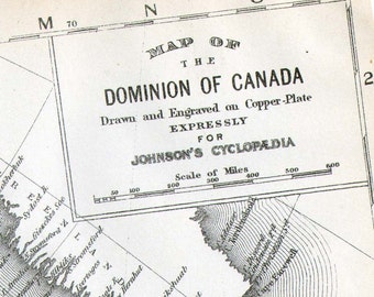 Map Canada Vintage Victorian 1896 Large Antique Copper Engraving Cartography To Frame