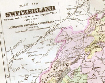 Switzerland Map 1896 Victorian Copper Engraving European Antique Cartography To Frame