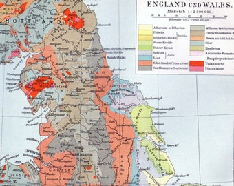 Geology Map England Wales 1903 Vintage Edwardian Antique Steel Engraving European Cartography To Frame