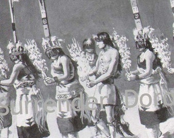 Zuni Ceremonial Dance Corn Maidens New Mexico Native American Vintage Cultural Anthropology 1927 Lithograph To Frame