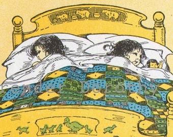 Goodnight By Ruth Hallock 1927 Vintage Nursery Illustration & Verse To Frame Original Litho For Kids