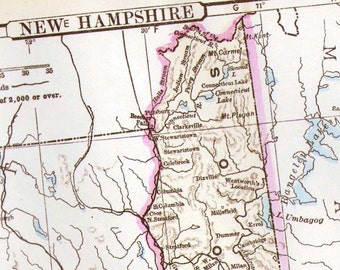 New Hampshire Map United States USA 1896 Vintage Victorian Antique Copper Engraved Cartography To Frame