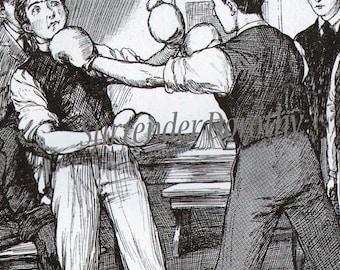 Boxing Boys Original Vintage Edwardian Antique Print For Children 1911