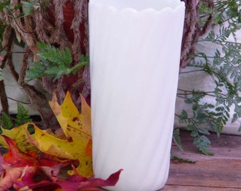 Vintage Twisted Milk Glass Vase E O Brody Traditional White Wedding Mid Century USA 1960s
