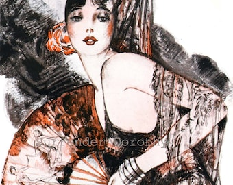 Haughty Spanish Flapper In Red Series Two Rare Vintage Advertisement Lithograph Prints To Frame