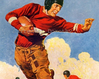 Football Hero Kellogg Cereal Ad Vintage Color Lithograph To Frame Roaring Twenties