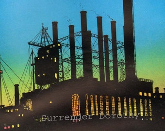 Electric Generating Station Industry Advertisement 1920s Vintage Color Lithograph To Frame