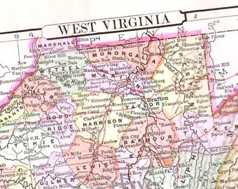 West Virginia Map USA United States 1896 Antique Victorian Copper Engraving Vintage Cartgraphy To Frame
