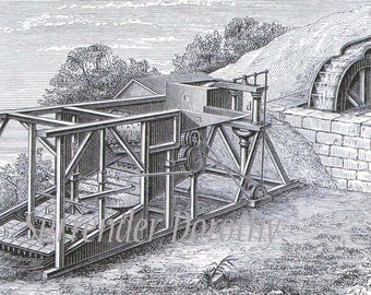 Gold Mine Refining Machines Invention Engraving Illustration 1906 Edwardian Germany To Frame