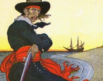 Pirate Captain Kidd  Buried Treasure Howard Pyle Original 1949 Children's Lithograph To Frame