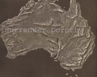 Relief Map Australia Antique Topography Vintage Edwardian Era 1912 Cartography To Frame