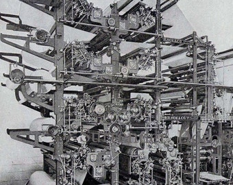 Double Octuple Newspaper Printing Press 1912 Four Stories Tall Edwardian Era Turn Of The Century Machinery