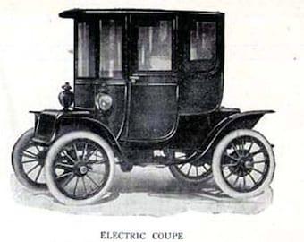 Electric Car Coupe Automobiles Edwardian Vintage Cars 1912 Antique Invention Print