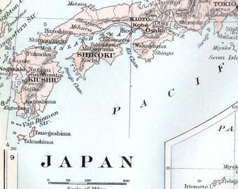 Map Japan Kurile & Loochoo Islands 1896 Victorian  Antique Copper Engraved Map To Frame