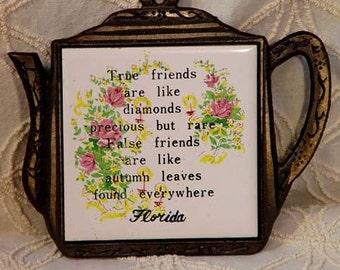 Friendship Trivet From Florida 1960s Mid Century Kitchen Ware