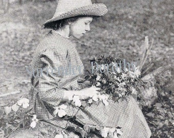 Dolly Picking Wild Flowers Armstrong Roberts 1920s Vintage Photo Children's Illustration To Frame