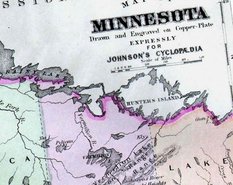 Minnesota USA State Map 1896 Vintage Victorian Antique Copper Engraving Cartography To Frame