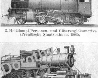 1906 Modern Locomotives Trains Railroad Rotogravure Edwardian Era Machine Illustration From Germany