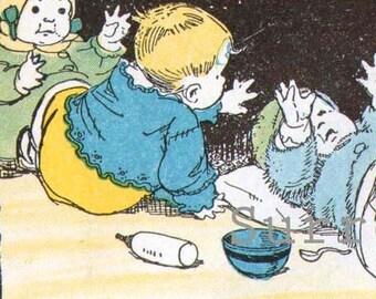Baby Land Vintage Chldren's Nursery Illustration And Verse To Frame 1927