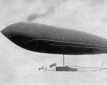 Blimps Dirigibles Zepplin Monoplane Flying Machines 1912 Early Aeronautics Photogravure To Frame