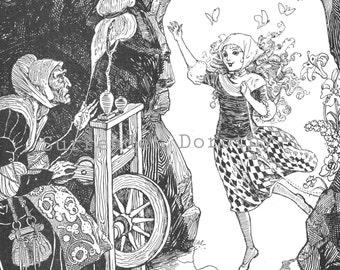 Sleeping Beauty  Meets Her Fate Albertine Randall Wheelan 1927 Vintage Children's Illustration To Frame Black & White
