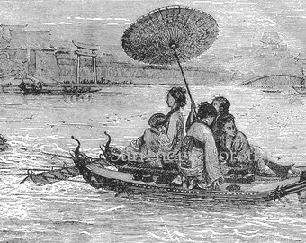 Geisha Ladies Ancient Japanese Ferry Boat 1892 Antique Victorian Illustration To Frame