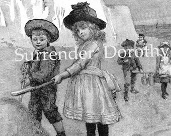 Brother, Sister Seaside Castle Builders Original 1890s Victorian Children Illustration To Frame Black & White