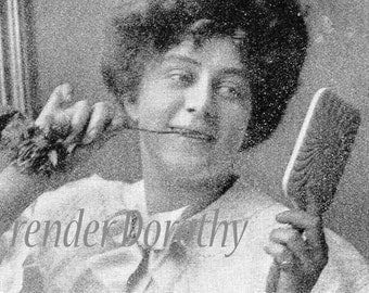 Gibson Girl's Toothbrush Oral Hygiene 1908 Edwardian Vintage Health & Beauty Rotogravure Illustration