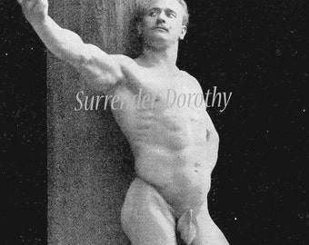 Body Builder Hunky Naked  Man In Gladiator Sandals And Not Much Else 1908 Vintage Photogravure To Frame Black & White