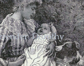 Happy Baby Happy Mother 1892 Victorian Nursery Engraving To Frame