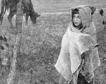 Little Girl Going For The Cows 1890 Original Victorian Antique Children's Engraving To Frame Black & White