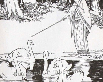White Swans Hugh Spencer 1926 Original Vintage Print Children's Nursery Illustration To Frame
