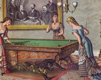 Brunswick Pool Table & Halstead Packers Vintage 1885 Victorian Era Advertisement Poster To Frame