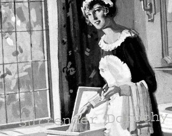 French Maid 1926 Modern Bath Advertisement Vintage Lithograph To Frame