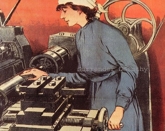 Russian Woman Machinist Engine Lathe Advertisement 1916 Edwardian Color Lithograph To Frame