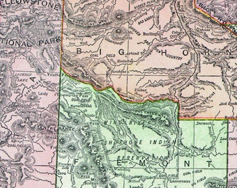 Antique Wyoming State Map 1895 Rand McNally Color Engraving Vintage Victorian USA Cartography To Frame