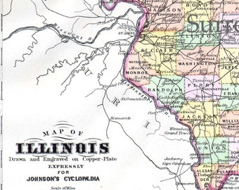 Illinois State Map Antique 1896 Victorian Large Antique Copper Engraving Vintage Cartography USA Geography To Frame