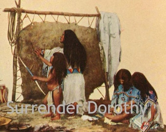 Sioux Indian Family Native American Cultural Anthropology 1927 Original Lithograph To Frame