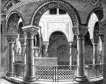 Romanesque Architecture Greece Italy Edwardian Era 1906 Steel Engraving To Frame