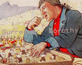 Gulliver In Lilliput Signed F M B Blaikie 1927 Vintage Children's Nursery Lithograph Illustration To Frame