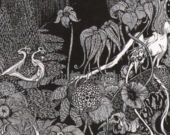 Silence Harry Clarke For Edgar Allan Poe 1933 Original Vintage Horror Illustration To Frame