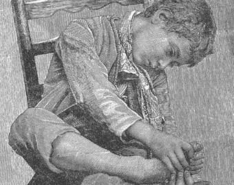 Barefoot Boy Vintage Victorian 1892 Original Engraving For The Nursery