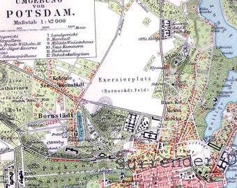 Potsdam Germany Map 1903 Vintage Edwardian Steel Engraving Vintage Cartography To Frame