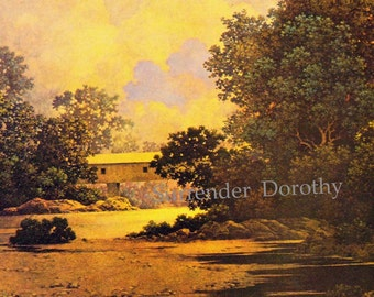 Thunderheads Maxfield Parrish Covered Bridge Vintage Art Nouveau Poster Print To Frame 1943
