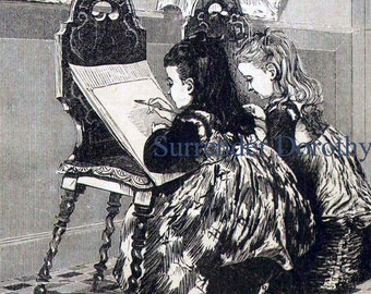 Little Artist Girls 1897 Victorian Engraving Vintage lllustration For Children For Framing