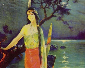 Indian Maiden Moonlight Charles Relyea Vintage 1920s Roaring Twenties Native American Pinup Girl Poster Print To Frame