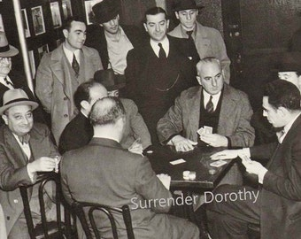 Poker Night With The Boys Vintage Photo Illustration 1930s Black and White Classic To Frame