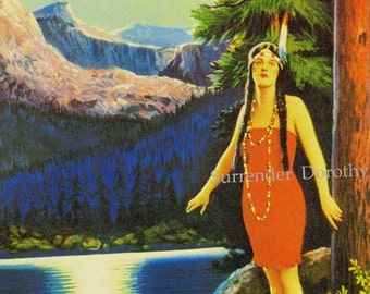 Indian Love Call Native American Maiden Pinup Girl Poster Lithograph Print To Frame 1920s Roaring Twenties