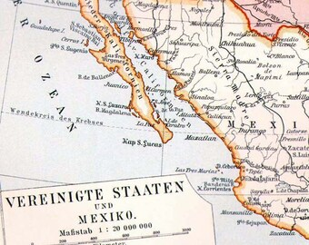 United States Mexico Cuba Central America Map 1906 Edwardian Antique Steel Engraved Cartography Original Art To Frame