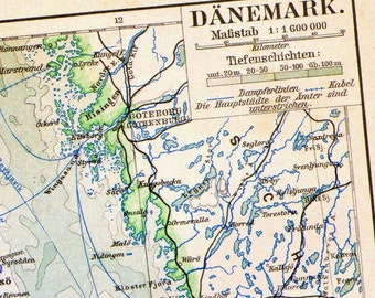 Denmark Map Edwardian Era 1903 Vintage Steel Engraved European Cartography To Frame